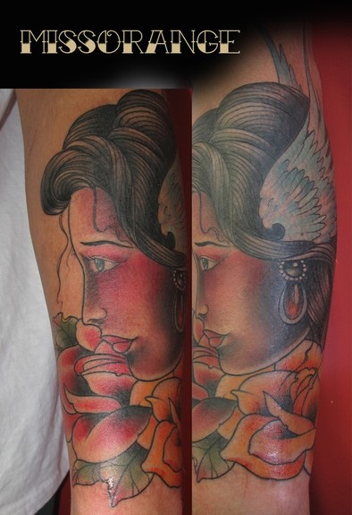 tattoos/ - Traditional Girl tattoo - 52494
