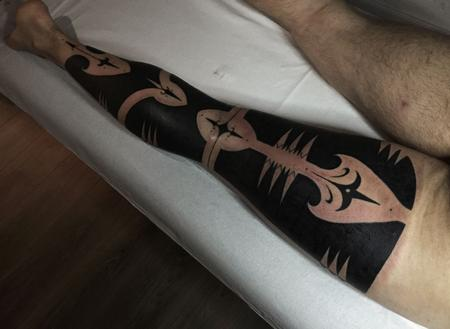tattoos/ - Blackwork Patterned Leg Sleeve Tattoo - 115374