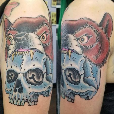 tattoos/ - Traditional Skull and Bear cowl - 132014