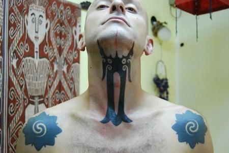 tattoos/ - Hand Tapped Throat Tattoo - 60497