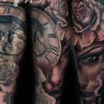 Clock Skull Rose Girl Leg Sleeve Tattoo Design Thumbnail