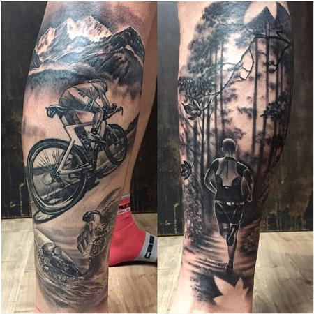 Sports - Triathlon Themed Tattoo in Black and Gray