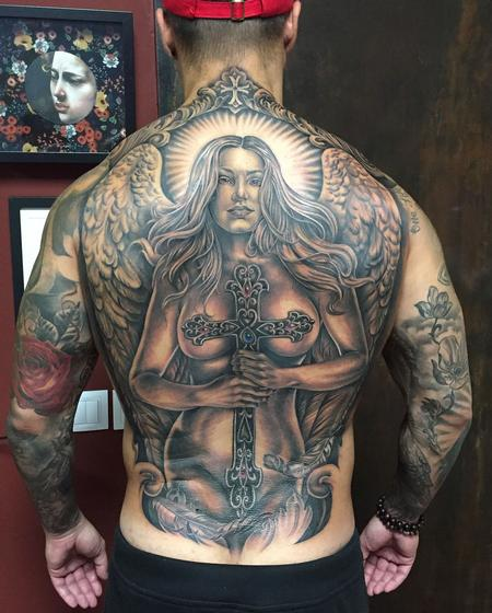 Religious Angel - Angel With Cross Backpiece in Black and Gray