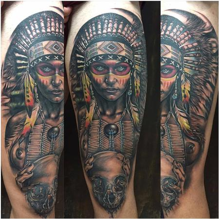 tattoos/ - Realistic Native American Woman - 130264
