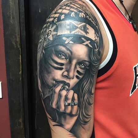 tattoos/ - Realistic Native American Woman in Black and Gray - 130457