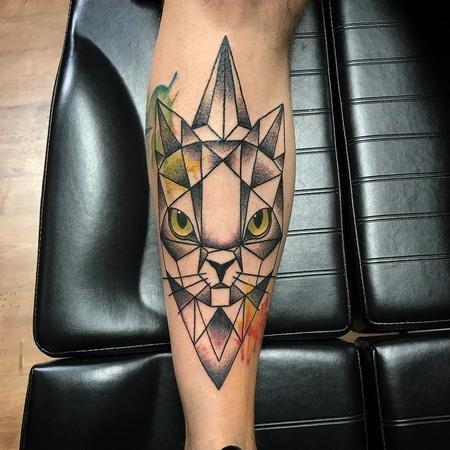 tattoos/ - Geometric Cat with Color and Dotwork Shading - 131812