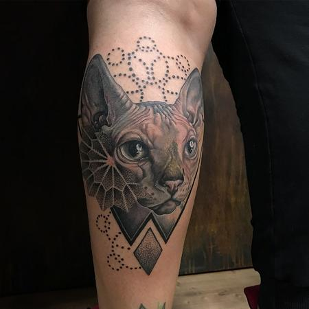 tattoos/ - Realistic Sphinx Cat With Geometric Details - 131811