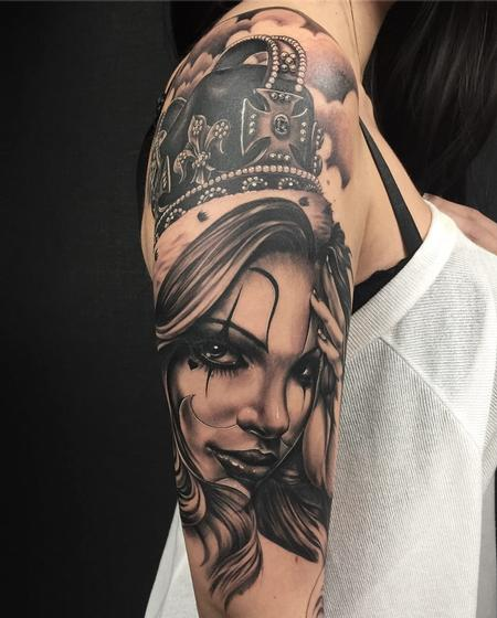 tattoos/ - Girl/crown/black and grey - 132528