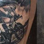 Triathlon Themed Tattoo in Black and Gray Tattoo Design Thumbnail