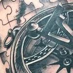 Realistic Compass with Jigsaw Pieces in Black and Gray Tattoo Design Thumbnail