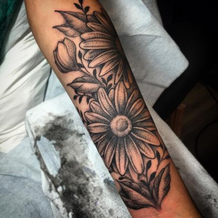 tattoos/ - Dotwork Daisy Tattoo - 121746