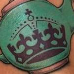 Traditional Keep Calm Crown Tea Pot Tattoo Design Thumbnail