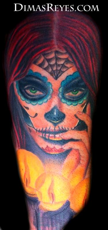 Color Day of the Dead Girl Tattoo Design