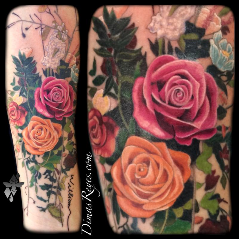Realistic Color Flower Bouquet Tattoo Tattoo Design