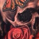 Skull Rose Butterfly Tattoo Design Thumbnail