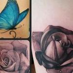 Blue butterfly and roses Tattoo Design Thumbnail