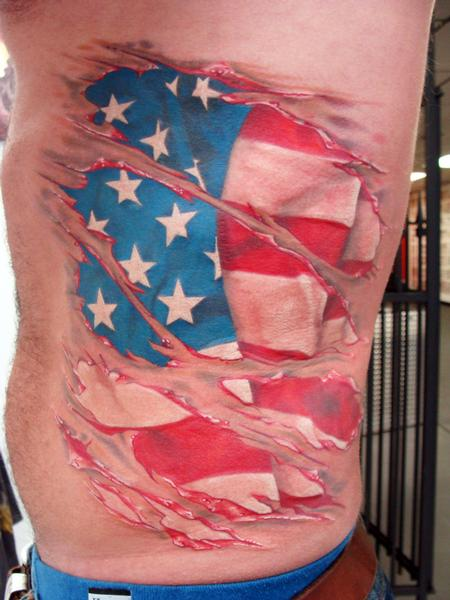 Tattoos - flag skin tear - 60887