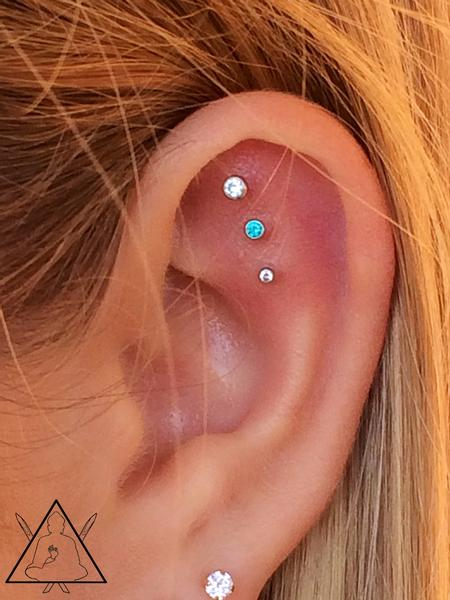 Tattoos - Triple flat piercing - 100908