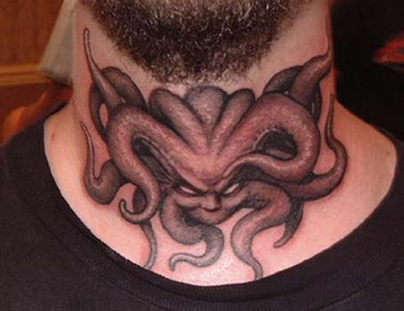 tattoos/ - Demon tattoo on throat - 28940