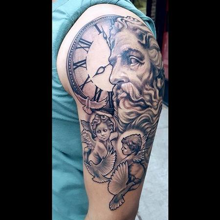 tattoos/ - Black and Grey Clock and Statues - 132030