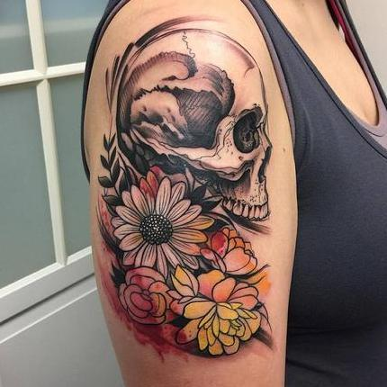 Abstract Watercolor Skull and Flowers Tattoo Design Thumbnail