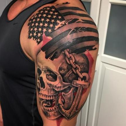 Trash Polka Style Flag Skull and Anchor Tattoo by David Mushaney Tattoo Design Thumbnail