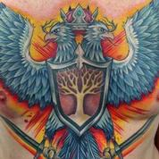 Double Headed Phoenix Chest Tattoo Tattoo Design Thumbnail