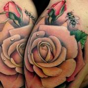 Pastel Roses and Bumble Bee Shoulder Tattoo Tattoo Design Thumbnail