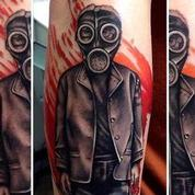 WW2 Era Gas Mask Kid Tattoo Design Thumbnail