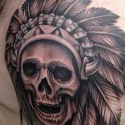 Black and Grey Skull and Headdress Tattoo Tattoo Design Thumbnail