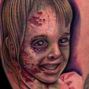 Zombie Girl Color Portrait Tattoo Design Thumbnail