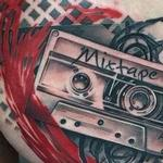 Old School Cassette Tape Chest Tattoo Tattoo Design Thumbnail