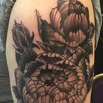 Black and Grey Peony Half Sleeve Tattoo Tattoo Design Thumbnail