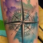 Abstract Watercolor Compass Tattoo Tattoo Design Thumbnail