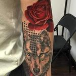 Trash Polka Style Wolf and Rose Tattoo Tattoo Design Thumbnail