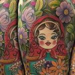 Colorful Russian Folk Art 3/4 Sleeve Tattoo Design Thumbnail