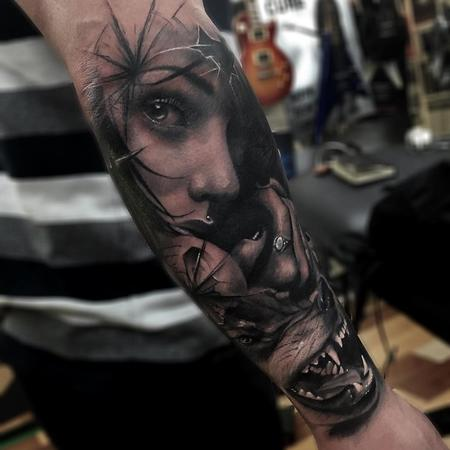 tattoos/ - Girl, Wolf, Glass Composite Arm Tattoo - 115847