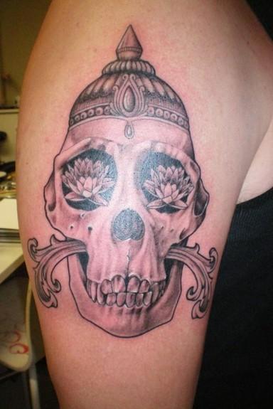 tattoos/ - Black and gray skull - 49555