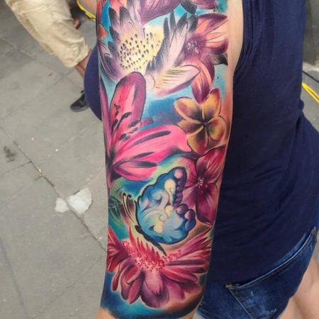 tattoos/ - Girly Full Colour Flower Half Sleeve - 108942