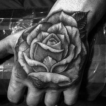 tattoos/ - Freehand Rose Hand Tattoo - 115963
