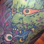 Japanese ONI eating face off skull  Tattoo Design Thumbnail