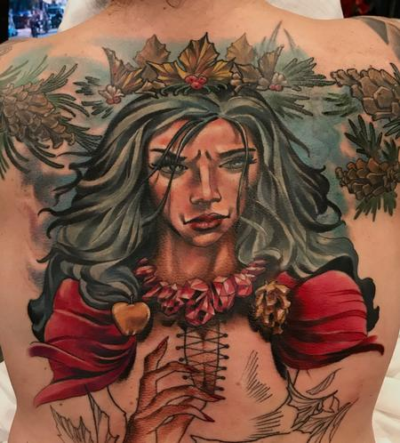 tattoos/ - Damon Conklin Woman with Holly crown - 131246