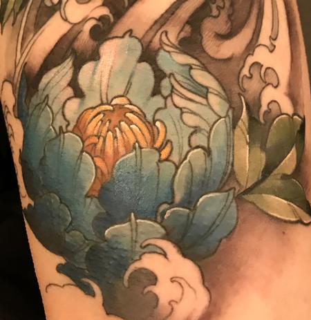 tattoos/ - Damon Conklin Peony in waves - 131247