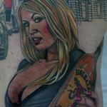 Fireball Whiskey Girl Tattoo Design Thumbnail