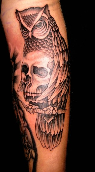 tattoos/ - Owl and Skull Tattoo - 52068