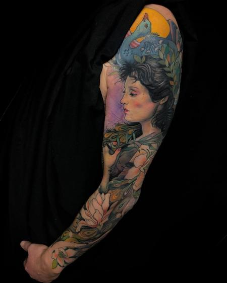 tattoos/ - Color Peacock and Woman Sleeve Tattoo - 137666
