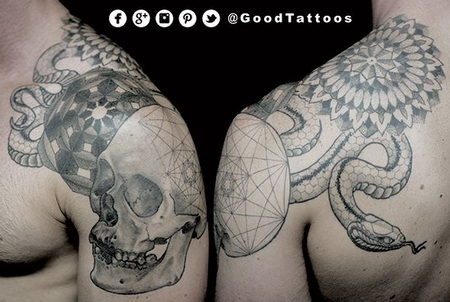 tattoos/ - Geometric Pattern Skull and Snake - 100287