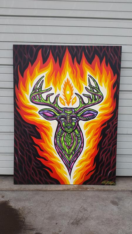 Art Galleries - psychedelic deer acrylic painting on canvas - 115120