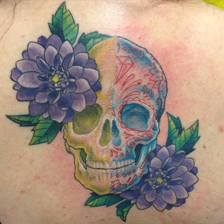 tattoos/ - Skull/Sugar Skull Flowers - 115953