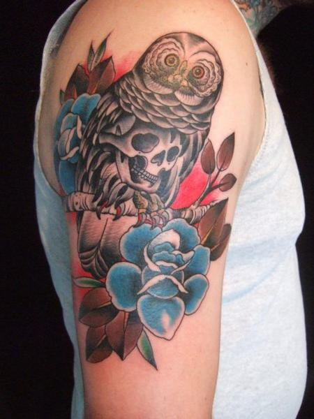 tattoos/ - Traditional Owl and Flowers Tattoo - 61626